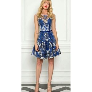 Bronx and Banco Blue Floral Embroidered Mesh Dress